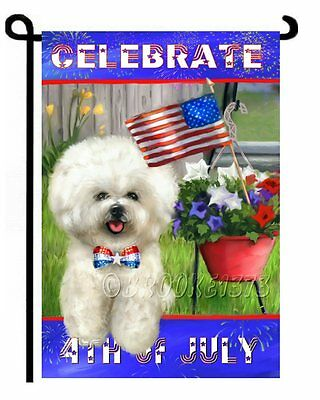 BICHON FRISE painting 4th of July GARDEN FLAG puppy Dogs ART Independence day
