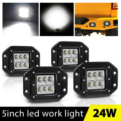 4x Flush Mount Led Lights Pods 5inch Tractor Jeep ATV Reverse Driving Flood 4''
