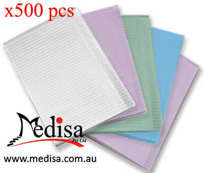 Adult 3PLY Dental Bibs Medical Waterproof Manicure Table Cover Pkt of 500 Pcs