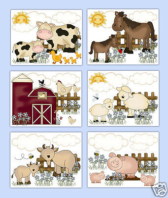 Farm Nursery Prints Wall Art Barnyard Animal Baby Girl Boy Decor Shower Gift