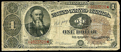 "Fr. 348 1890 $1 One Dollar Large Size ""stanton"" Ornate Back Treasury Coin Note"