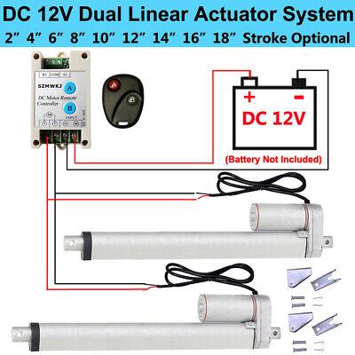 2 Dual 12V Linear Actuator Motor +Forward Reverse Controller Kit +Mount Brackets