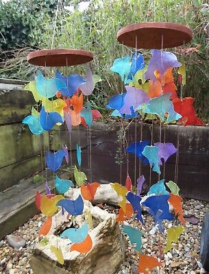 FairTrade Hand Made Rainbow Capiz Shell Dolphin Bird Wind Chime Windchime Mobile