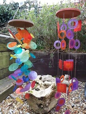Fair Trade Hand Made Rainbow Retro Capiz Shell Wind Chime Windchime Mobile