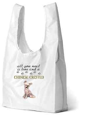 Chinese Crested Dog Printed Design Eco-Friendly Foldable Shopping Bag BCRESTED-1