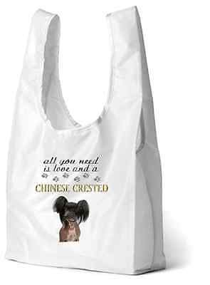 Chinese Crested Dog Printed Design Eco-Friendly Foldable Shopping Bag BCRESTED-2