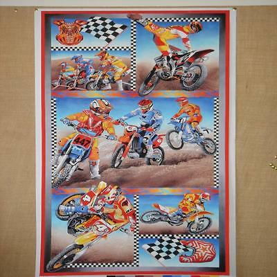Motorcross Motorbikes Boys Cotton Quilting Fabric Panel