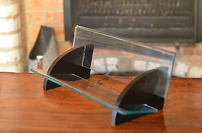 Contemporary Glass and Black Wood Book Trough Desk Stand Rack