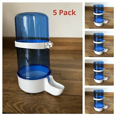 5 x 400cc Bird Feeder Water Drinker With Clips For Aviary Cage Finch, Canary etc