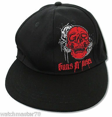 """Guns N Roses """"crying Skull"""" Black Fitted Hat Cap New"""