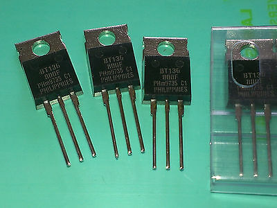 3 Stück BT136-800F Philips Triac 800V / 4A Igt=25mA TO220AB (M4640)