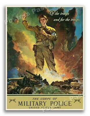 "1940s ""The Corps of Military Police"" WWII Historic MP War Poster - 20x28"