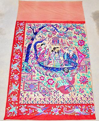 """Big Antique Chinese Silk Embroidery Panel with 4 Immortals & Boat  (140"""" x 81"""")"""