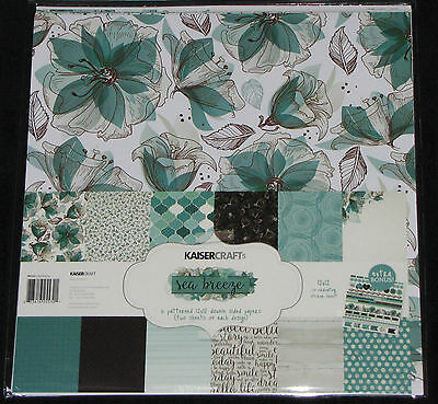 "Kaisercraft 'SEA BREEZE' 12x12"" Paper Pk + Stickers Floral/Turquoise KAISER"