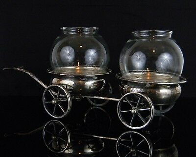 Antique F.B. Rogers Silver Co. Silverplate Wine Double Caddy Wheeled Cart