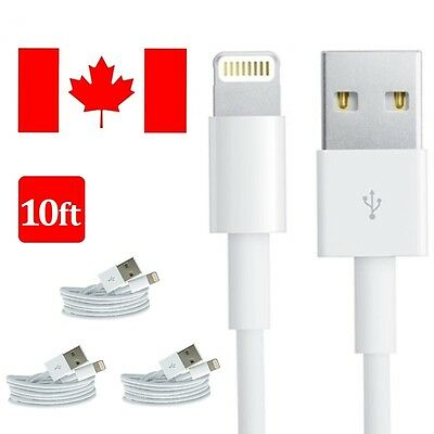 3x 10FT 3M 8 Pin USB Data Sync Charger Cable Cord For iPhone 5 5C iPhone 6 6S