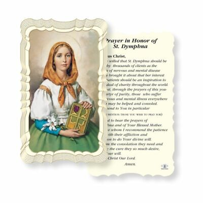 St. Saint Dymphna with Prayer - Scalloped trim - Paperstock Holy Card