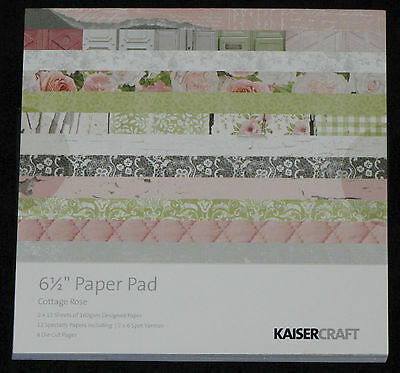 """Kaisercraft 'COTTAGE ROSE' 6.5"""" Paper Pad Shabby Chic/Floral *NEW* KAISER"""