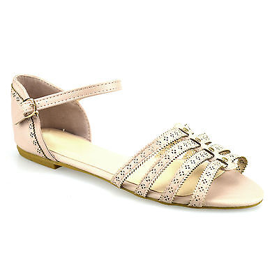 Ladies Womens Casual Flat Heel Ankle Strap Summer Gladiator Sandals Shoes Size