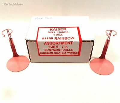 "1 Doz SLIM WST DOLL STANDS~PINK. NEW. Kaiser #1195 6""-7"" DAWN,mini GINNY,Antique"