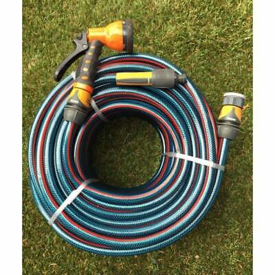 "100M Flex 12MM Water Hose Holman Fittings & Gun 8/10 Non-Kink Bonus 1/2"" Nozzle"