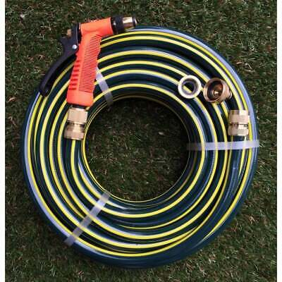 "Garden Water Hose Proflex 12MM - 1/2"" Brass Fittings Gun 50M Kink Rating 9.5/10"
