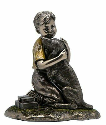 Boy With Labrador Retriever Puppy Statue, Bronze Powder Cast 4 7/8-in