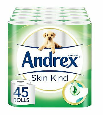 Andrex SkinKind Toilet Tissue With Aloe Vera - 45 Rolls NEW