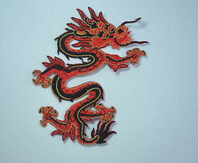 Purple & Black Dragon Tattoo Embroidered Cloth Sew Iron On Patch Badge Applique