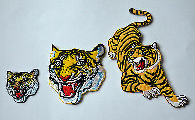 3 TIGERS TIGER Embroidered Sew Iron On Cloth Patch APPLIQUE SEWING NEW