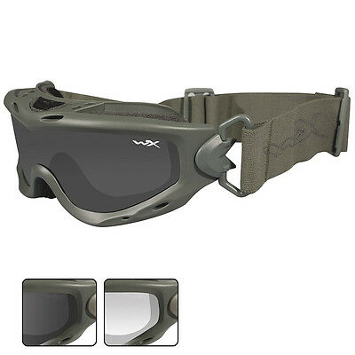 Wiley X Spear Goggles Two Ballistic Spare Lenses Motorcycle Foliage Green Frame
