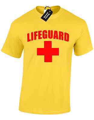 Lifeguard Mens T Shirt Funny Design Fancy Dress Baywatch Beach Stag Party Tee