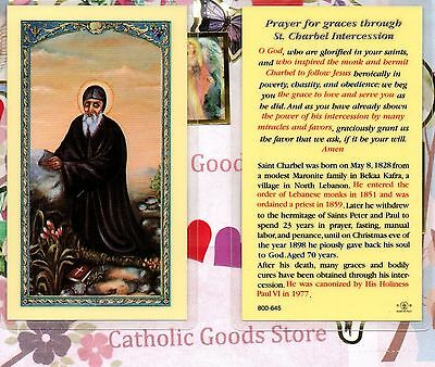 St Charbel - Prayer for Graces - Laminated Holy Card