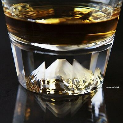 Japanese World's Heritage Mt.Fuji Whiskey Rock Glass Craftsman Made With Box F/S