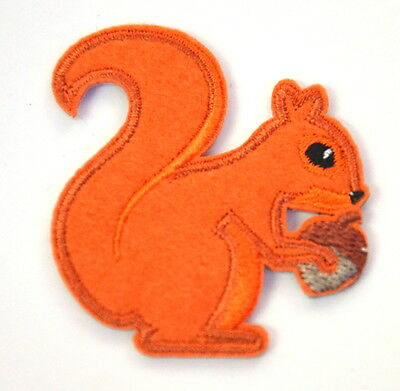 RED SQUIRREL ACORN NUT  Embroidered Iron Sew On Cloth Patch Badge  APPLIQUE