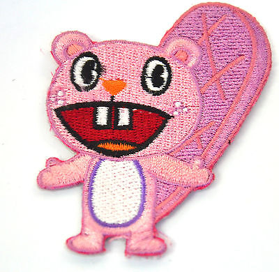 HAPPY TREE PINK BEAVER  Embroidered Iron Sew On Cloth Patch Badge  APPLIQUE