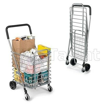 Rolling Shopping Trolley Cart Folding Portable Aluminum Travel Grocery -Market