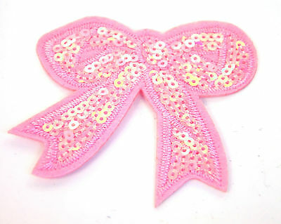 PINK RIBBON BOW SEQUIN Embroidered Iron Sew On Cloth Patch Badge  APPLIQUE