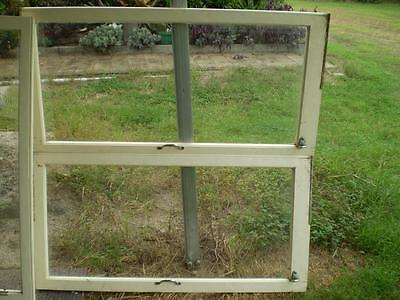 6 large silky oak school house windows  solid frames clear glass hinges handles