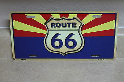 Route 66 Az. State Flag Novelty License Plate New (Not Embossed)