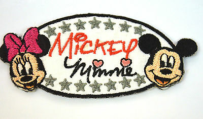 MICKEY & MINNIE MOUSE DISNEY Embroidered Iron Sew On Cloth Patch Badge  APPLIQUE