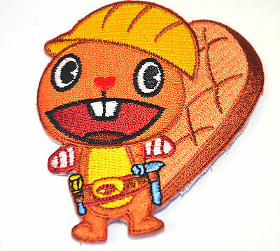 BEAVER HAPPY TREE FRIENDS Embroidered Iron Sew On Cloth Patch Badge  APPLIQUE