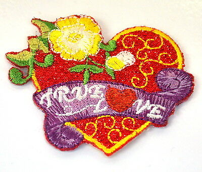 TRUE LOVE RED HEART TATTOO Embroidered Iron Sew On Cloth Patch Badge  APPLIQUE