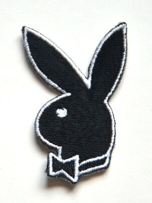 2X PLAYBOY BUNNY LOGO BLACK  Embroidered Sew On Cloth Patch Badge  APPLIQUE