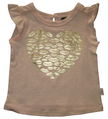 Fred Bare T Shirt Baby Girls Short Sleeve Pale Pink Gold Design Sizes 00, 0 NEW