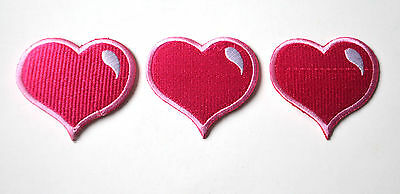 3x PINK LOVE HEART (SLIGHT FAULT) Embroidered Iron On Cloth Patch Badge APPLIQUE
