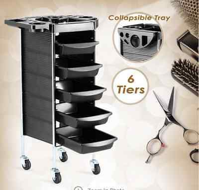 6 Tiers Hairdresser Hair Salon Spa Trolley Beauty Storage Cart 5 Sliding Trays