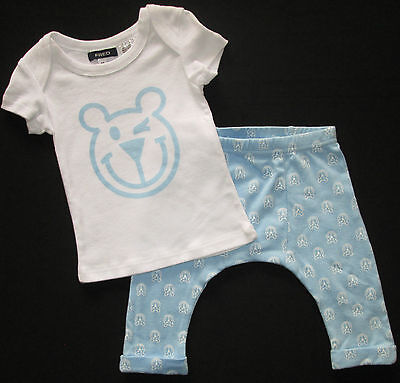 Baby Boys 2 Piece Set Fred Bare T Shirt Outfit Pants Top Blue White 00 0 NEW