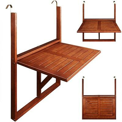 Outdoor Wooden Balcony Hanging & Foldable Small Dining Table Garden & Patio