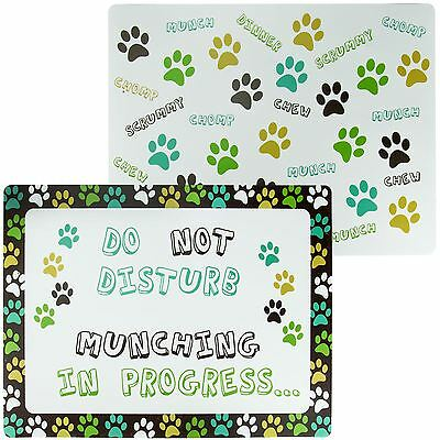 2 Pack Pet Feeding Placemat Dog Cat Puppy Kitten Food Water Bowls Mat Paw Print